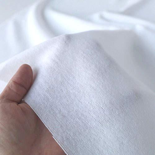 TOLKO Baumwollstoff | 42 kräftige ÖkoTex Farben Baumwoll-Nesselstoff uni Kleiderstoff Dekostoff | Baumwolle Meterware 150cm breit | Vorhang-Stoff Bezugsstoff Webstoff 50cm (Weiß Molton)