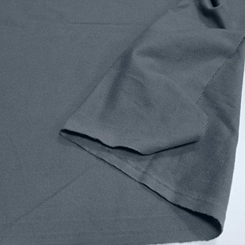 TOLKO Baumwollstoffe Meterware | Flanell Winter-Stoff für Bekleidung, Vorhang, Deko-Molton | Weich warm beidseitig angerauht 155cm breit (Grau)