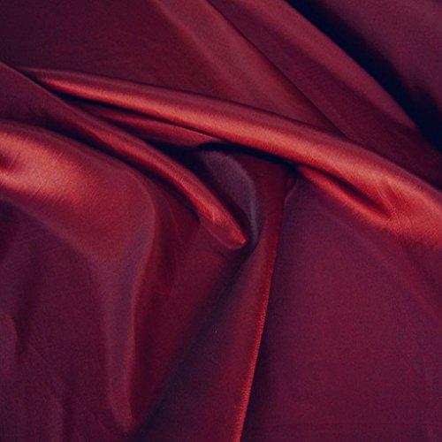 TOLKO Kleider-TAFT als Modestoff/Dekostoff   edel Changierend und glänzend   Stoff zum Nähen und Dekorieren   Blickdicht, knitterarm   Meterware 148cm breit (Bordeaux)