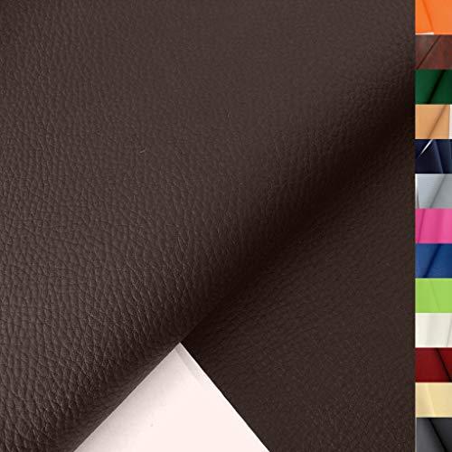 TOLKO Lederimitat mit Rindsleder Optik | weiche Premium Meterware | für Stuhl Bank Sessel Sofa Sitzbezug 140cm breit | Kunstleder Bezugstoff Polsterstoff Polsterbezug Möbelbezug Möbelstoff (Braun)