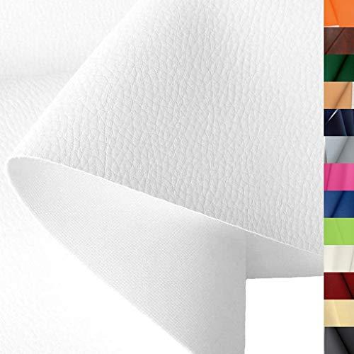 TOLKO Lederimitat mit Rindsleder Optik   weiche PREMIUM Meterware   für Stuhl Bank Sessel Sofa Sitzbezug 140cm breit   Kunstleder Bezugstoff Polsterstoff Polsterbezug Möbelstoff (Weiß)