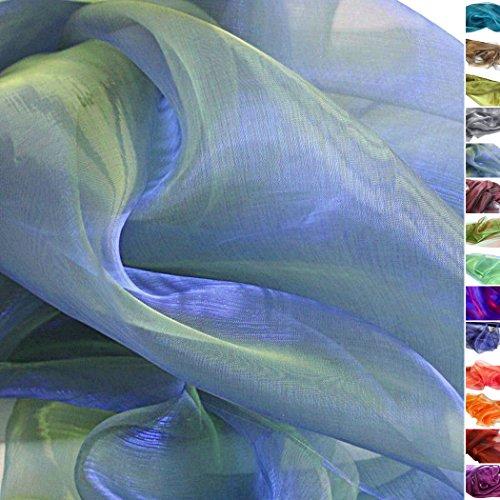 TOLKO® Meterware | Organza Deko-Stoff Transparent mit Farbwechsel zum Nähen - Dezent Glänzend und Hauch Zart (Blau-Gelb)