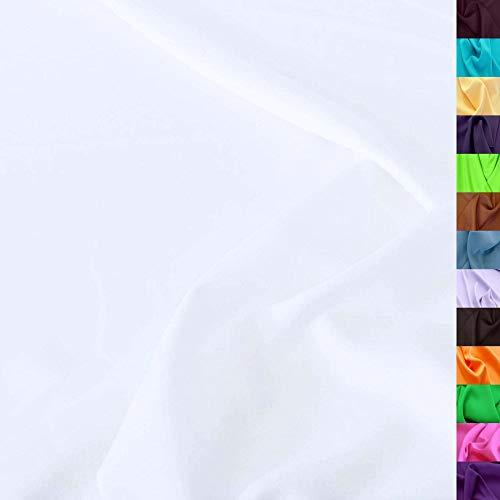 TOLKO Modestoff   Dekostoff universal Stoff zum Nähen Dekorieren   Blickdicht, knitterarm   150cm breit Meterware (Weiß) uni Bekleidungsstoffe Dekostoffe Vorhangstoffe Nähstoffe Basteln Patchwork Deko