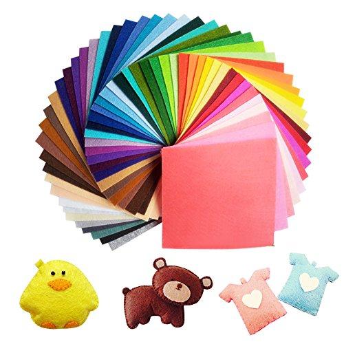 UOUNE Bunter Filzstoff 60 Farben Bunte Filzplatten 20 x 30cm Bastelfilz Filz Blätter Polyester Felt Fabric DIY Stoff Filzplattenset bunt