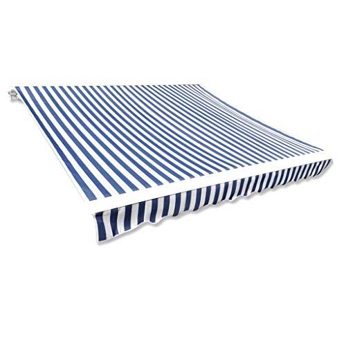 vidaXL 141010 Markisenstoff Sonnenschutz Markisentuch Blau & Weiß 3×2,5 m (ohne Rahmen), Gewebe, One Size