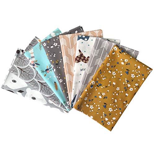 YXJDWEI 8 Stück Baumwollstoff 46x56cm Patchwork Stoffe 100% Baumwolltuch DIY Gewebe Quadrate Stoffpaket zum Nähen mit vielfältigen Muster für Handarbeiten Tierforst