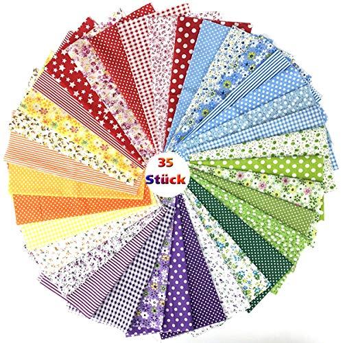ZXY Stoffreste,35 Stück 25 x 25 cm Patchwork Stoff Paket Baumwollstoff Meterware für Kleidung, Bettwäsche, Vorhänge, Tischdecken usw. handgefertigt